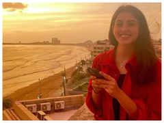 Navya Naveli Nanda enjoys a golden sunset