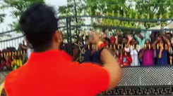 Watch: Khesari Lal Yadav greets massive crowd of fans