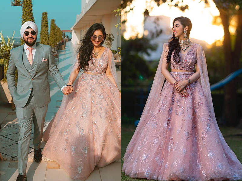 This bride wore a pink princess tulle lehenga and it's BEAUTIFUL