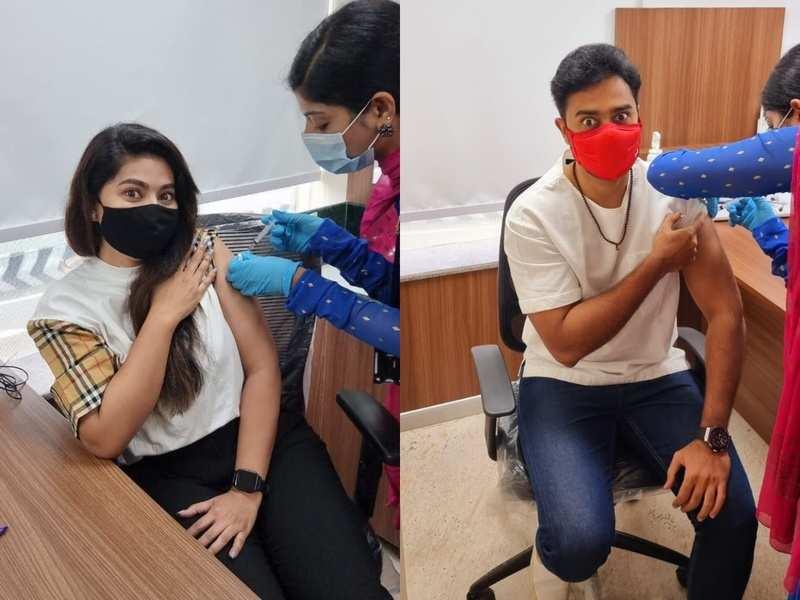 Sneha and Prasanna get their first COVID-19 shot