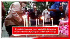 A peek into candlelight prayer meet which was held in remembrance of photographer Danish Siddiqui