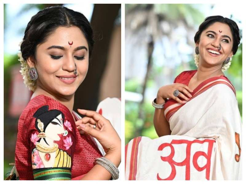 Mrunmayee Deshpande defines elegance and grace in this white and red saree; see pics
