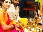 Pictures from post wedding puja of newly-couple Rahul Vaidya and Disha Parmar go viral