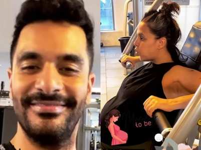 Pregnant Neha Dhupia works out at the gym