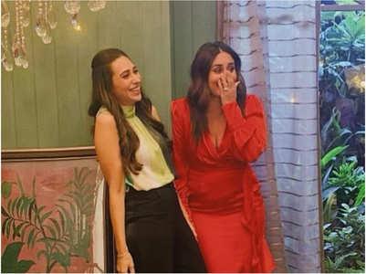 Karisma shares a pic with Kareena from sets