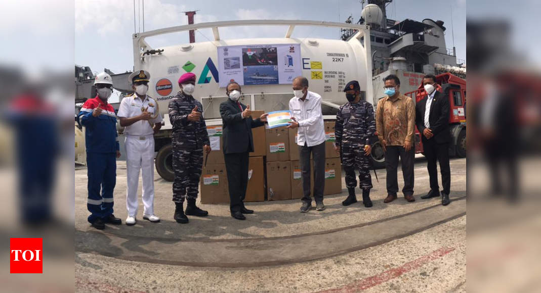 INS Airavat reaches Jakarta with Covid relief supplies   India News – Times of India