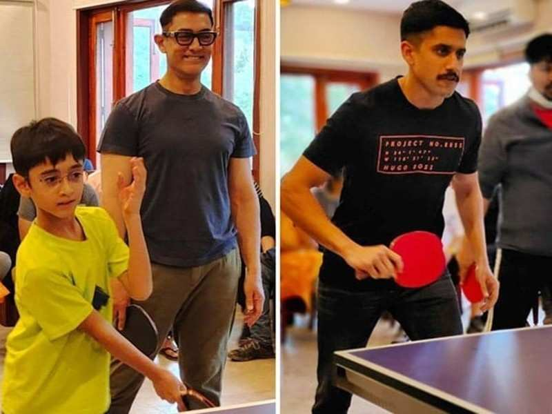 Naga Chaitanya plays Table Tennis with Aamir Khan on the sets of Laal Singh Chaddha