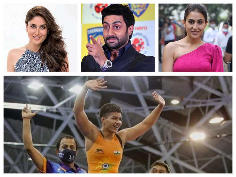 Kareena Kapoor Khan, Sara Ali Khan, Abhishek Bachchan cheer for Priya Malik as she clinches gold for India at World Cadet Wrestling Championship