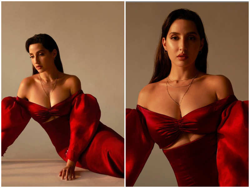 Nora Fatehi makes a bold statement in red which looks like a dreamy vision to behold