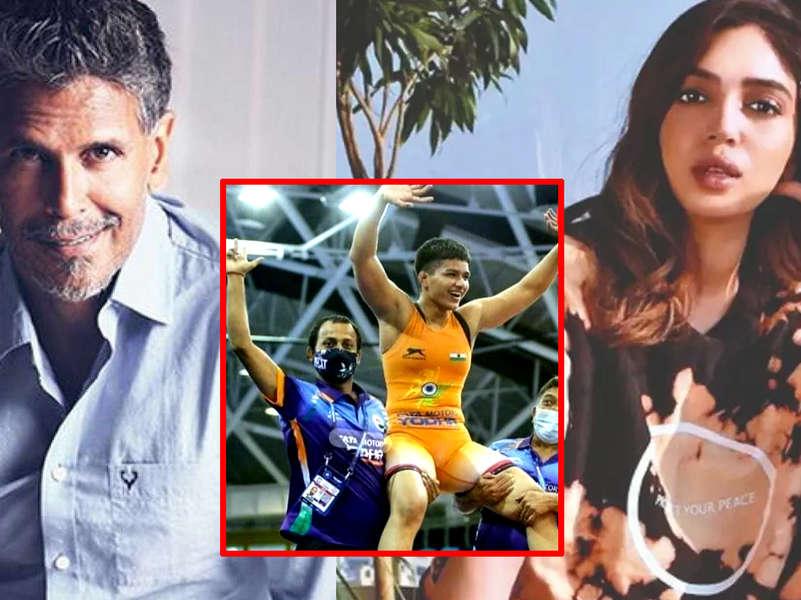 Bhumi Pednekar, Milind Soman, Vatsal Sheth confuses wrestler Priya Malik's historic win at World Cadet Wrestling Championship for Olympics victory
