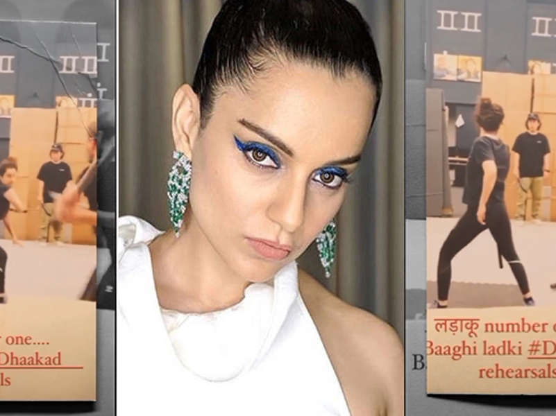 Kangana Ranaut calls herself 'Ladaku number 1' as she gets into full action mode for 'Dhaakad'! Check new video from fight scene rehearsal