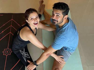 Rubina's yoga session with husband Abhinav