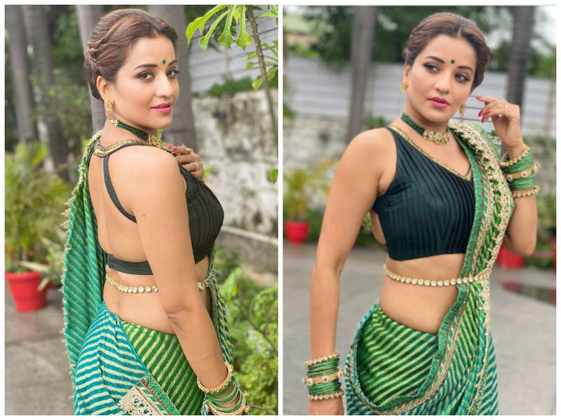 Monalisa looks ethereal in her stylish saree; see pics | Bhojpuri Movie News - Times of India