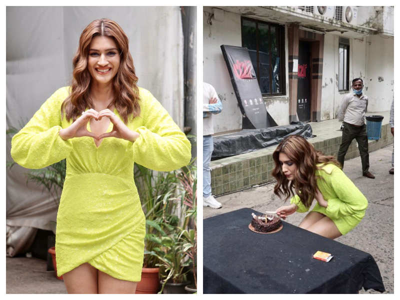 Birthday girl Kriti Sanon stuns in a neon dress as she cuts the cake with media
