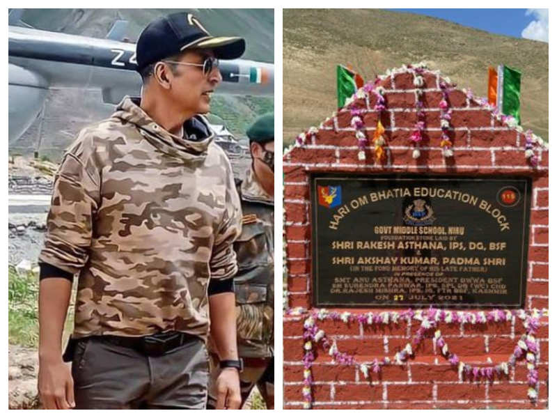 Akshay Kumar donates Rs 1 crore to rebuild a school in Kashmir, BSF shares a photo of laying the foundation stone