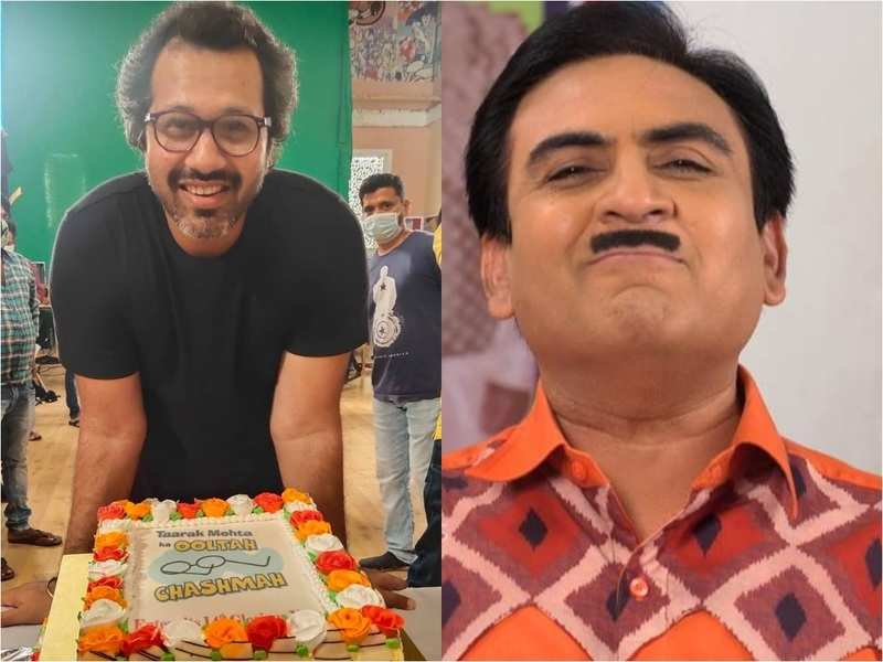 Taarak Mehta's director Malav Rajda poses with a colourful cake as the show completes 13 years; Dilip Joshi and cast thank viewers