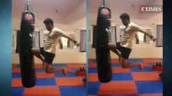 Mitra Gadhvi gives a glimpse of his energetic kick-boxing act