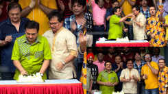 Dilip Joshi cuts a cake with the cast and crew of Taarak Mehta as they complete 13 years