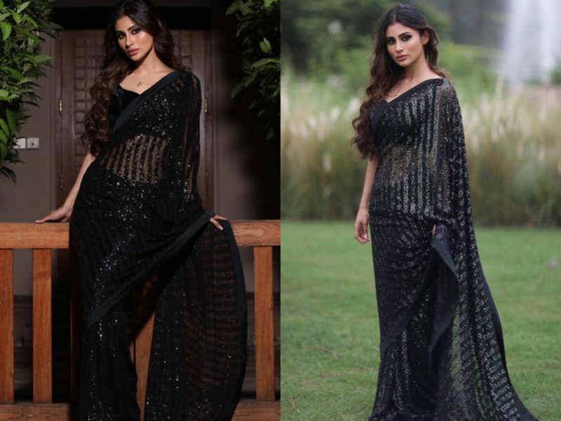 Mouni Roy's black sari is perfect to make a statement at your Bhai ki shaadi!