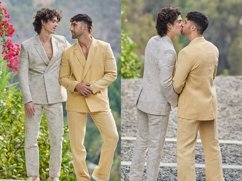 This gay couple wore the most stylish suits for their wedding