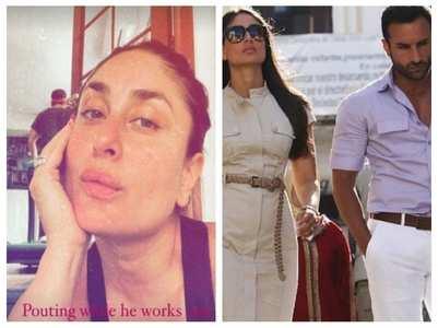 Kareena gives a glimpse of Saif's workout