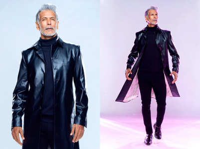 Milind Soman's faux leather trench