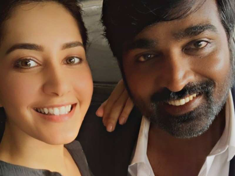 Raashi Khanna collaborates with Vijay Sethupathi for the third time; shares a happy selfie from the film set