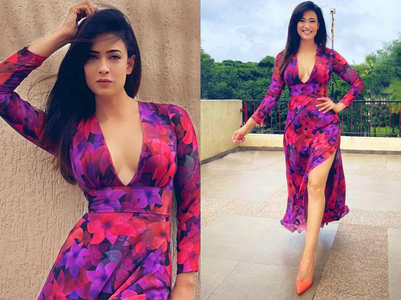 Shweta Tiwari's pretty floral thigh-high slit dress