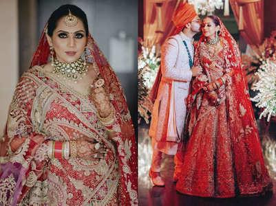 This bride wore a beautiful red silk lehenga