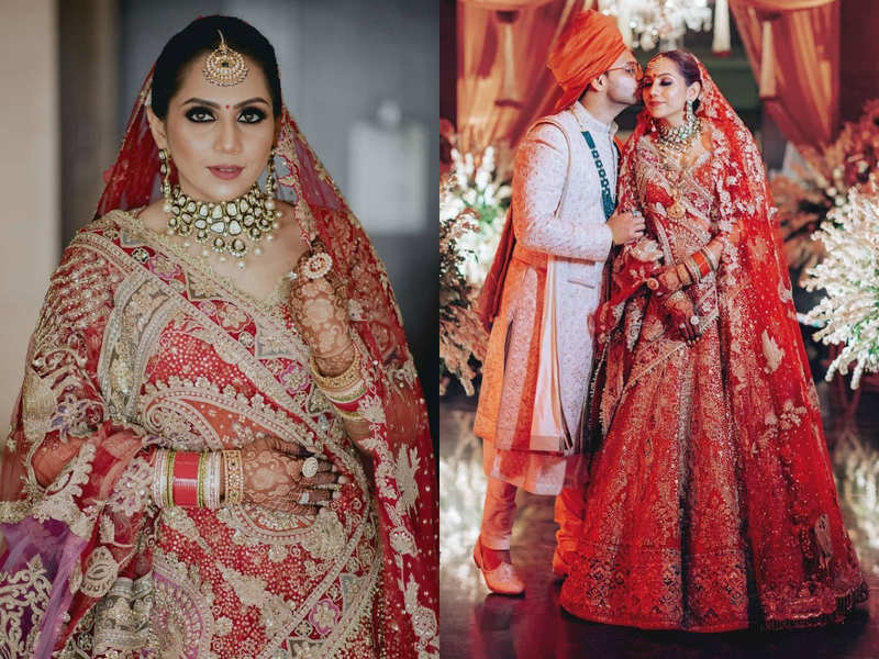 This bride wore a beautiful silk lehenga and proved nothing can beat RED