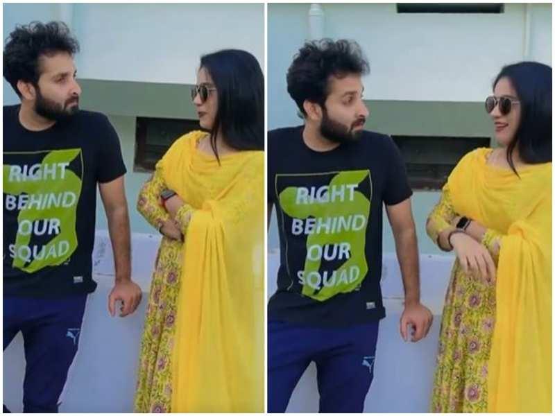 Kudumbavilakku co-stars Noobin and Athira recreate the iconic scene of Mohanlal and Nadhiya; watch