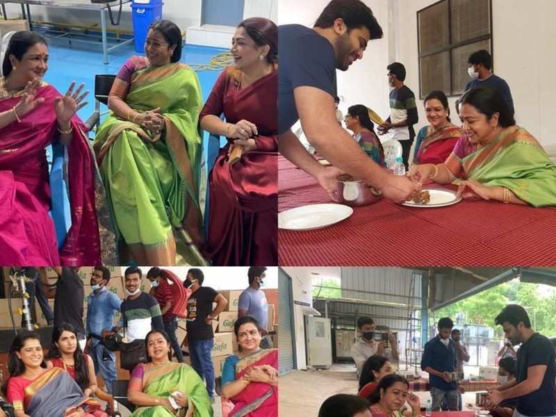 Radhika Sarathkumar, Khushubu Sundar and Urvashi join the sets of Sharwanand and Rashmika's Aadavallu Meeku Joharlu
