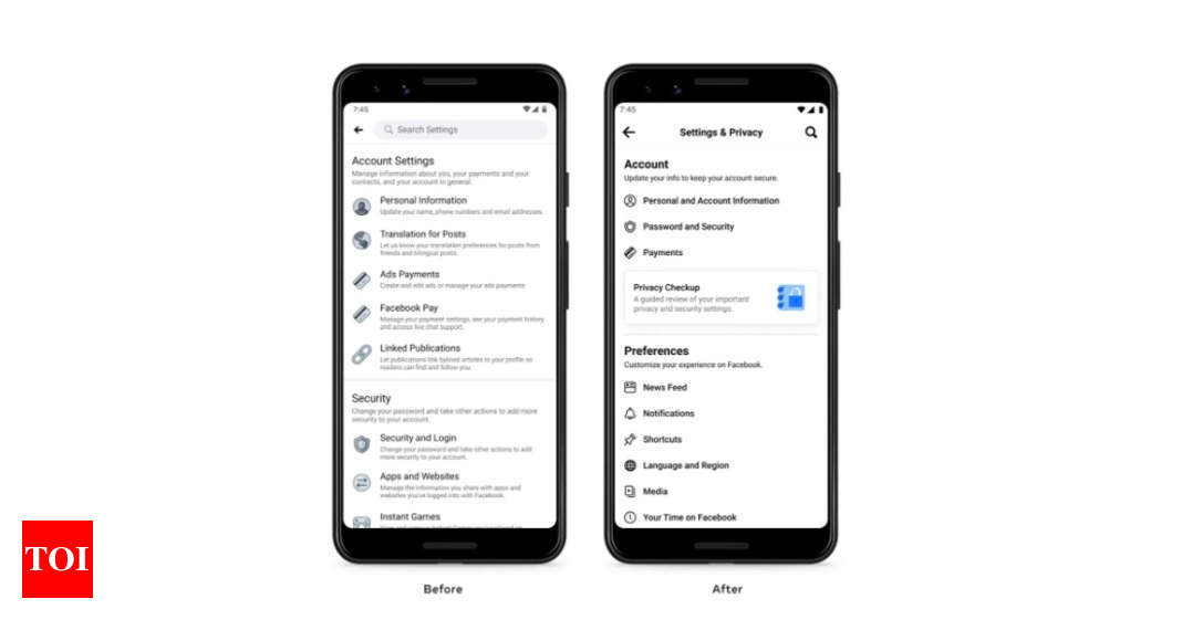 Facebook redesigns Settings menu in app, rolls out simplified options – Times of India