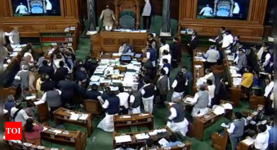 Lok Sabha proceedings adjourned till 5pm amid opposition ruckus | India News – Times of India