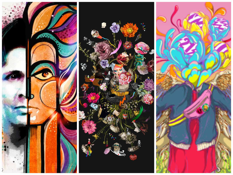 (Left to right): Actor Vishal Malhotra's artwork in collaboration with artist Ishita Banerjee,  Impossible Bouquet by Raghava KK on NFT, pop icon Ritviz and visual artist Santanu Hazarika, sold their collaborative work for $391.8 within 10 seconds of going live on WazirX