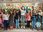 Pictures of Mishika Chourasia celebrating Independence Day with children