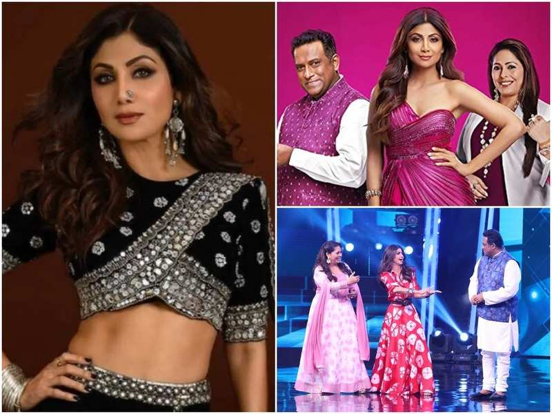 Shilpa Shetty; with other judges Anurag Basu and Geeta Kapoor in Super Dancer