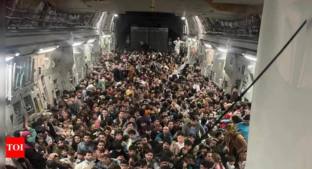 Striking visual shows 640 Afghans packed inside plane thumbnail