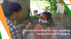 Patriotism theme for face painting competition in Prayagraj