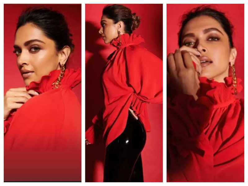 Deepika Padukone amps up the cyberspace in her ravishing red attire, see pics