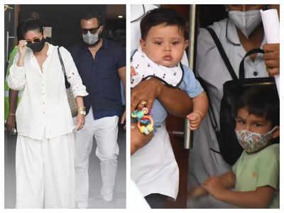Taimur and Jehangir Ali Khan look cute as a button as they return to Mumbai from their Maldives vacation with Kareena Kapoor and Saif Ali Khan, see pics   Hindi Movie News -
