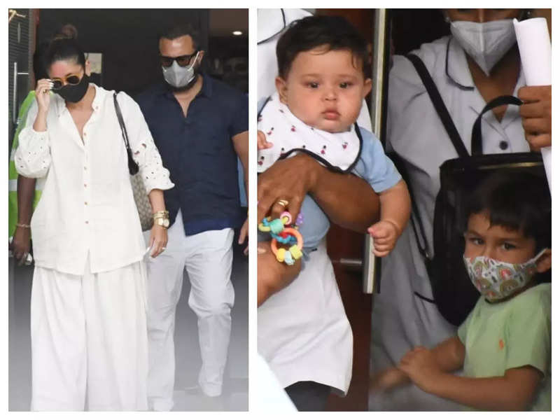 Taimur and Jehangir Ali Khan look cute as a button as they return to Mumbai from their Maldives vacation with Kareena Kapoor and Saif Ali Khan, see pics