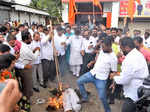 Pictures from clashes between Shiv Sena and BJP workers in Maharashtra