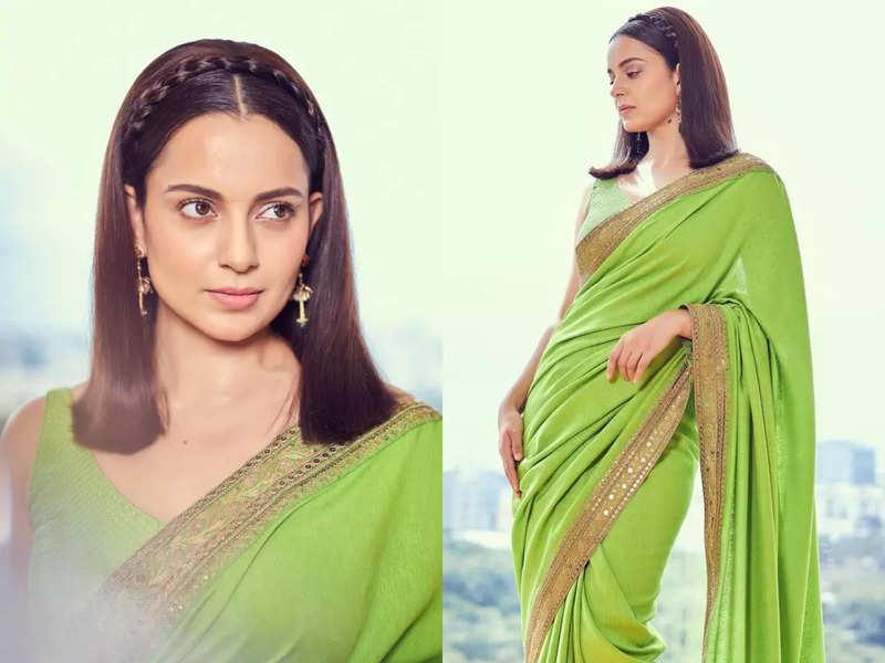 Kangana Ranaut's green sari is perfect look for mehendi