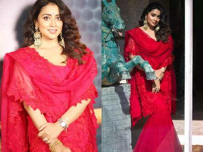 Shriya Saran's red sharara set is perfect for brides