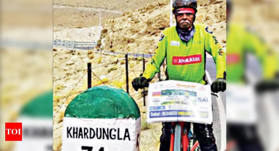 Man cycles 4,500km from Kerala to Ladakh to celebrate 80th birthday