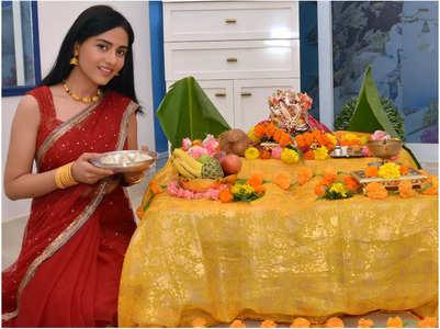 Amrita on Ganpati celebration with son
