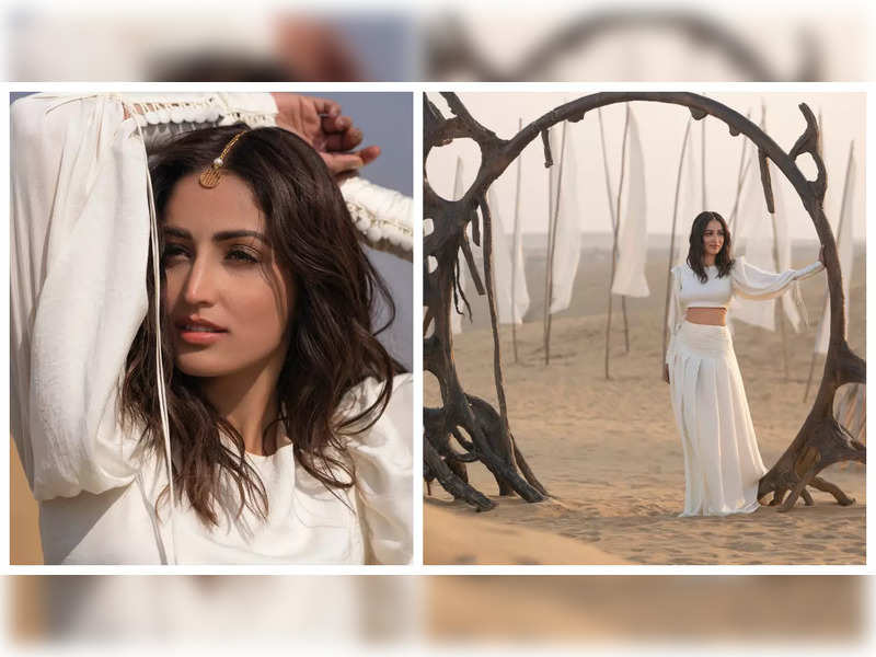 Yami Gautam is a sight to behold in her pearl white ensemble and gold maang tikka, see pics