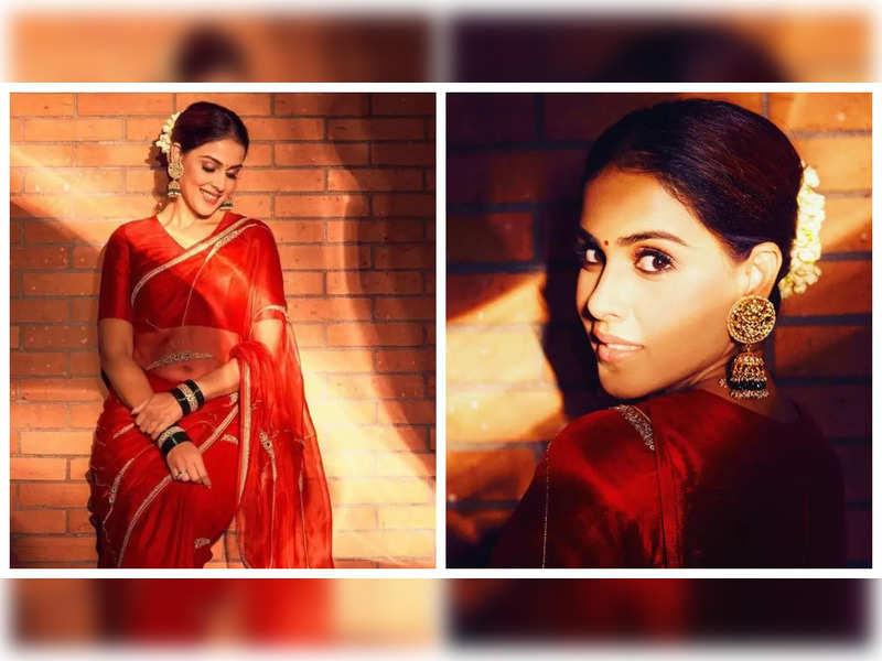 Genelia D'Souza looks drop-dead gorgeous in a ravishing red saree, see pics