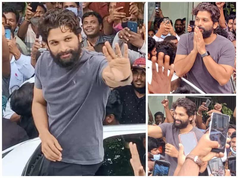 Allu Arjun greets fans in Kakinada while shooting for Pushpa